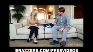 Single blonde mom Amber Lynn rides her son in law's big-dick